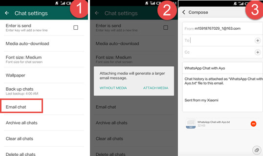transfer WhatsApp Chats from Android to iPhone using Email
