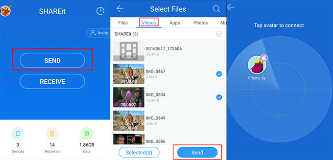 shareit app to transfer data from Android to iPhone